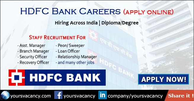 Hdfc Bank Careers 2019 Latest Recruitment Job Vacancy In Hdfc